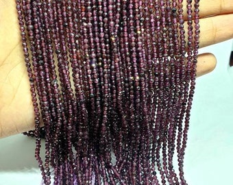 """1 Strand Faceted Natural Garnet 2.6mm 15.2"""" Loose Rondelle Beads Jewelry Making Supplies Semi Precious Stone for Necklaces, Bracelets"""