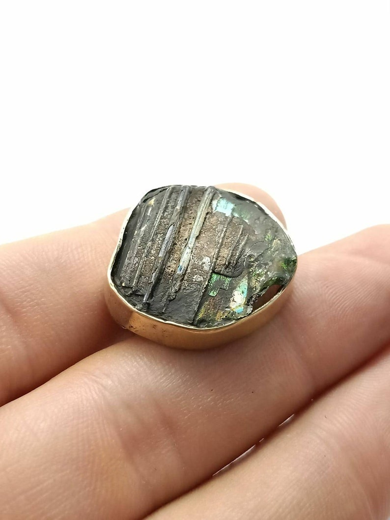 Gold Plated Over Sterling Silver Rare Antique Ancient Old Genuine Iridescent Roman Glass Statement Ring Jewelry Size 6.75US Art Superb