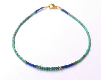 Afghan Natural Turquoise & Lapis Lazuli Tiny Seed Tube Pipe Beads Dainty Anklet Ankle Bracelet Gemstone Jewelry Brass, 925 Sterling Silver