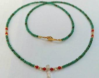 Afghan Natural Turquoise Tiny Seed Beads Necklace with Coral & Crystal Pendant Jewelry 17.7 inches Make for order