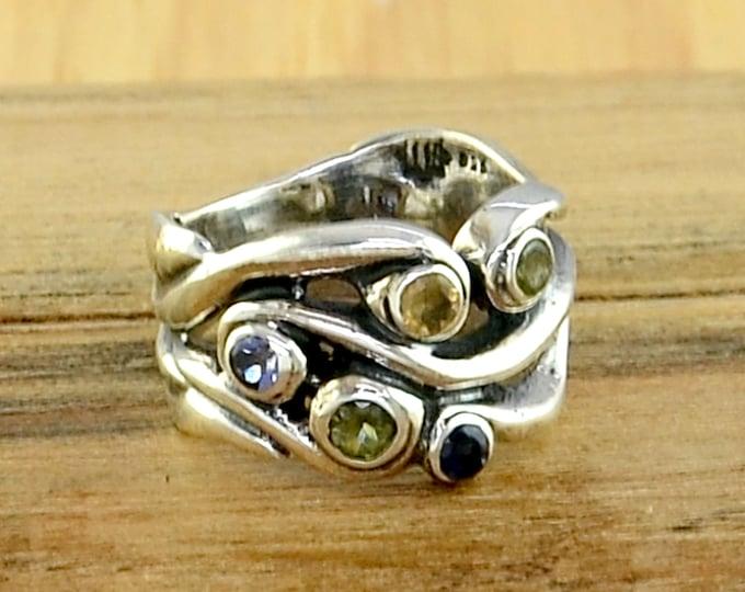 Multi Gemstones Silver Ring Multi Gemstones Handmade Silver Jewelry Multi Gemstones Sterling Silver Ring Multi Gemstone Jewelry