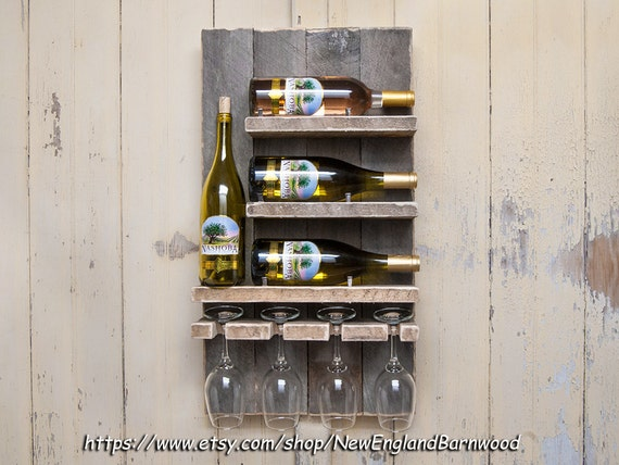 Rustic Wall Mount Wine Rack Wine Bottle Holder Rustic Wine Etsy