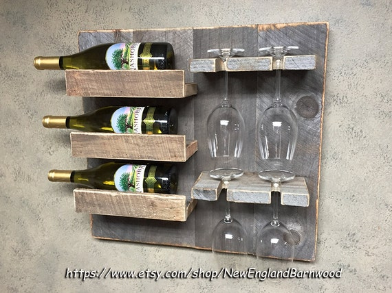 Farmhouse Wine Rack Wall Mount Wine Rack Wedding Gift Ideas Etsy