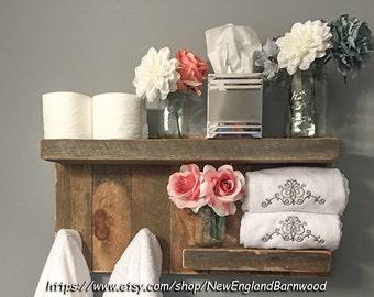 Bathroom Shelf,Bathroom Shelves, French Country Decor,Wall Shelves,Rustic Home Decor,Lake House Decor,Kitchen Shelf,Wooden Shelves,Coat Rack