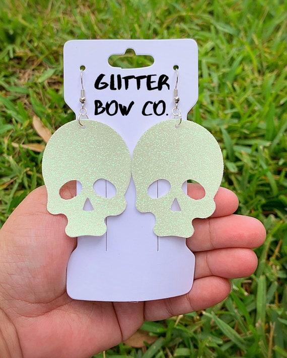 Skull Earrings, Glitter Skull Earrings, Glow in the Dark, Halloween, Costume Earrings, Cosplay