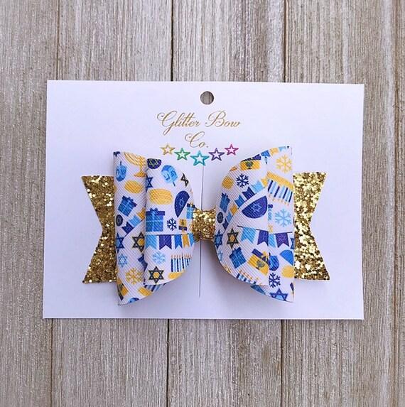 Hannukah Bow, Nylon Headband Option, You Choose Size, Happy Hannukah, Gold, Blue, Hair Clip, Holiday