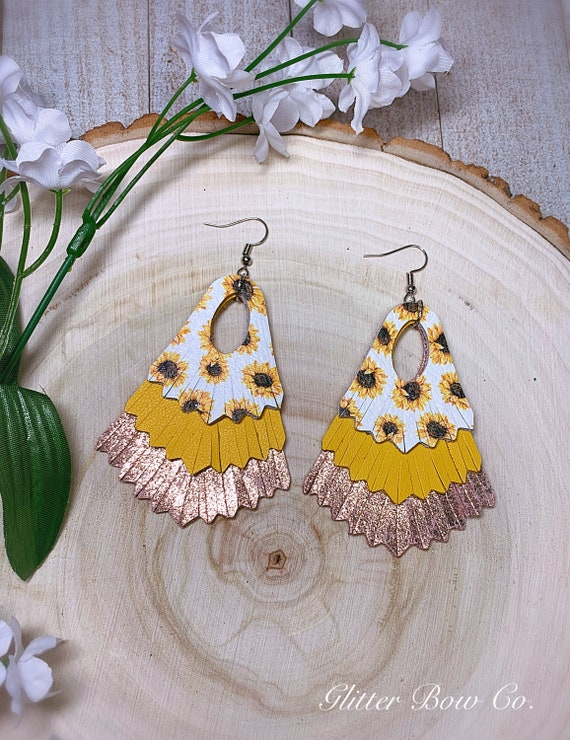Sunflower and Rose Gold Fringe Statement Earrings - Genuine Leather- Spring and Summer Fashion - Unique Gifts for Her