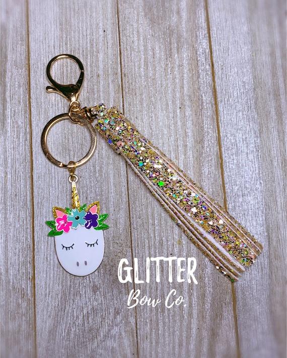 Sleepy Unicorn Keychain, Backpack Keychain, Purse Bling, Glitter Tassel