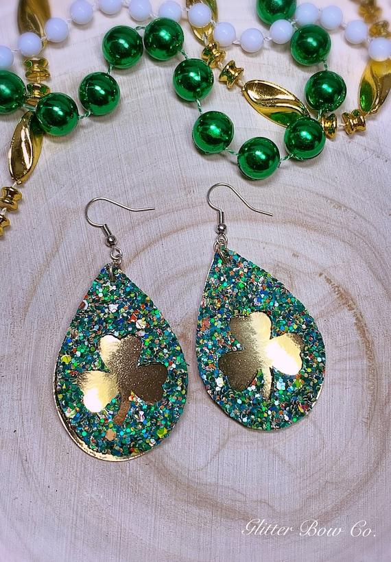 "Faux Leather and Glitter Shamrock Earrings - St. Patrick's Day - Fashion Earrings - 2"" Teardrop - Lucky Charm Earrings - Gifts for Her"