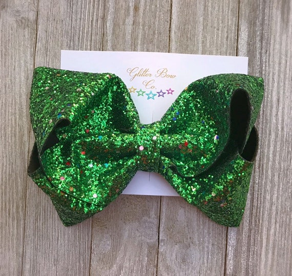 Green Multi Glitter Southern Bow,  Jumbo Hair Bow, Christmas Bow