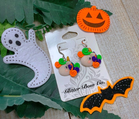 Halloween Unicorn Earrings - One of a Kind