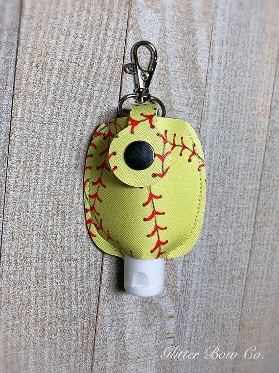Softball Hand Sanitizer Holder - Keychain Sanitizer -  Travel Sanitizer Holder - Key Fob Accessory