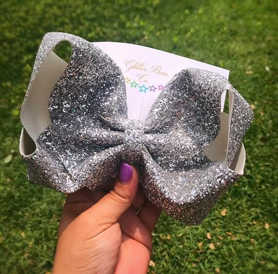 Silver Glitter Southern Bow, Jumbo Hair Bow