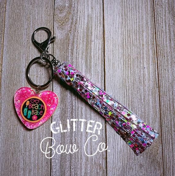 Beach Babe Keychain, Backpack Keychain, Glitter Keychain, Purse Bling, Bling Keychain, Rainbow, Glitter Tassel, Beach Babe