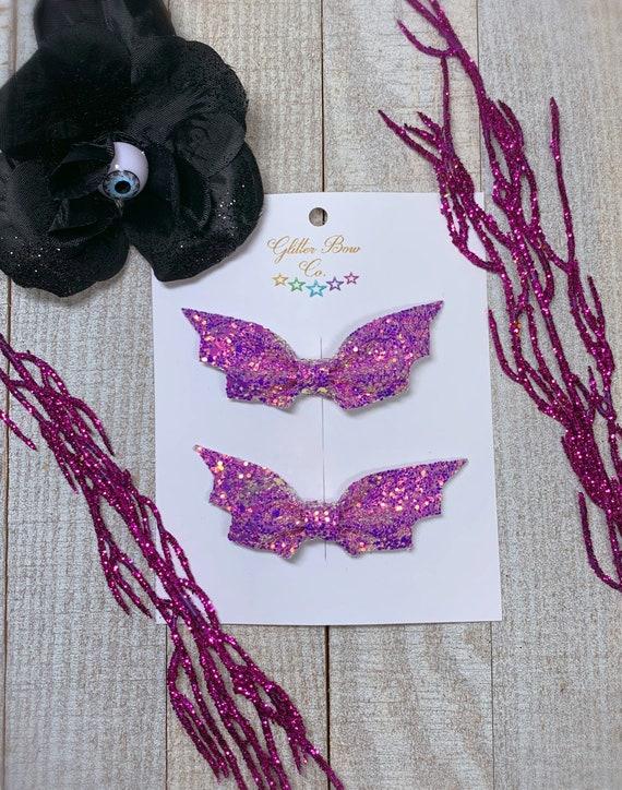 Purple Bat Bow Clips, Vampire Hair, Batty Halloween Bows