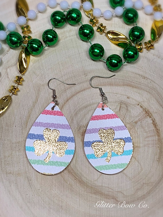 """Rainbow and Gold Faux Leather Shamrock Earrings - St. Patrick's Day - Fashion Earrings - 2"""" Teardrop - Lucky Earrings - Gifts for Her"""