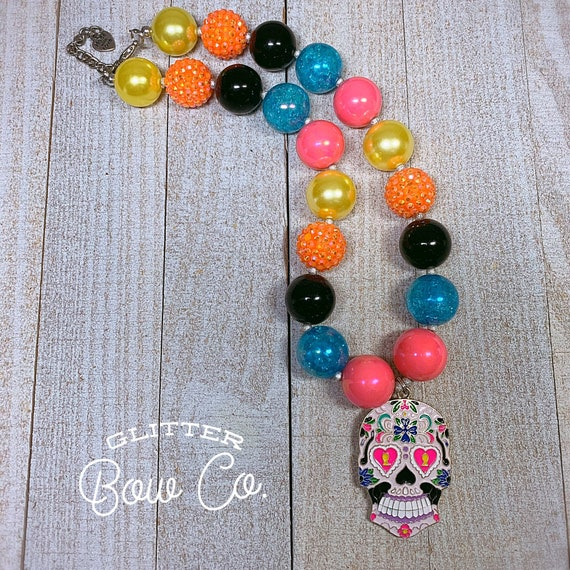 Sugar Skull Bubblegum Necklace - Day of the Dead - Chunky Bead Necklace