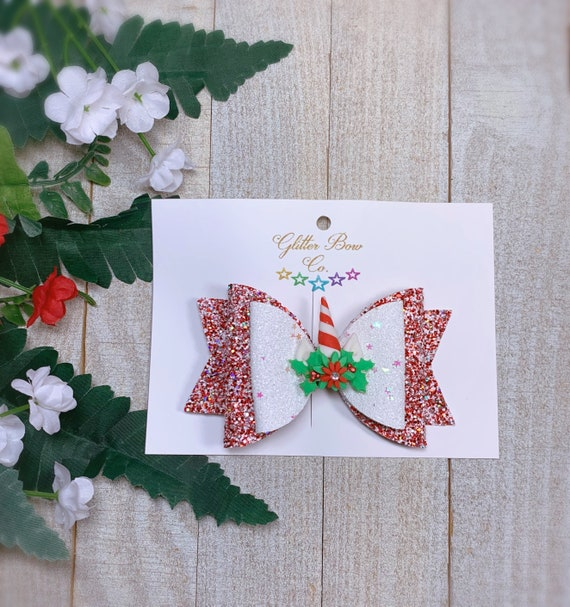 Christmas Unicorn Hair Bow, Candy Cane Hair Bow
