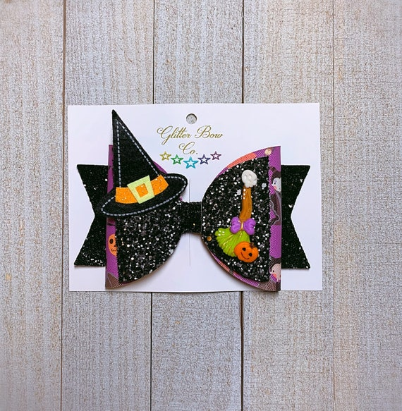Witch Hair Bow - Halloween Glitter Bow