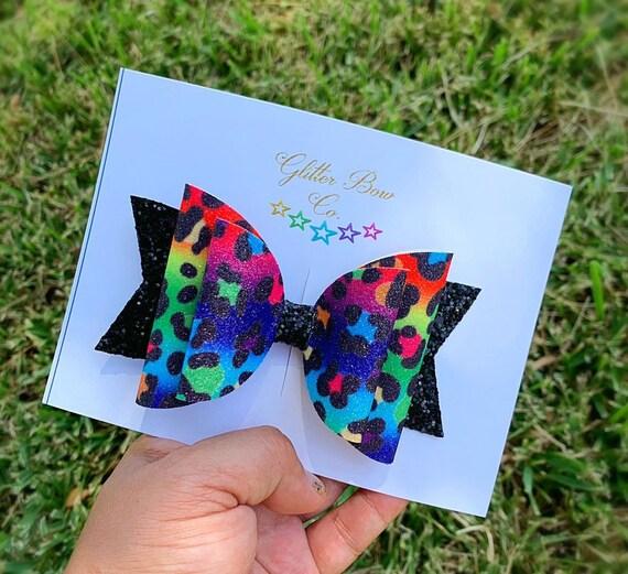 Rainbow Leopard Glitter Bow - Girls Hair Bow