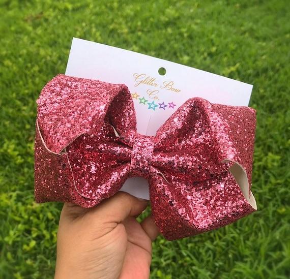 Dusty Rose Glitter Southern Bow, Jumbo Hair Bow