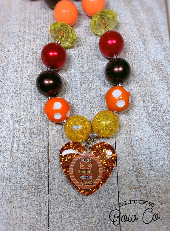 Thanksgiving Bubblegum Necklace - Turkey Day- Gobble Gobble - Chunky Bead Necklace