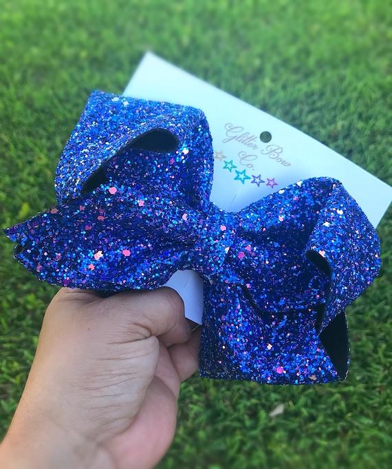 Cosmic Blue Multi Glitter Southern Bow, Jumbo Hair Bow