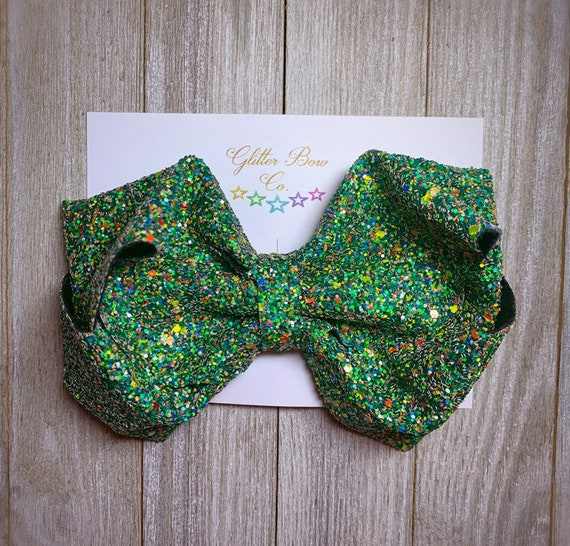 Green Multi Glitter Southern Bow, Jumbo Hair Bow