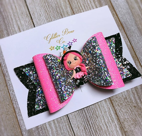 Hot Pink Witch Glitter Bow- Glow in the Dark - Girls Halloween Bow