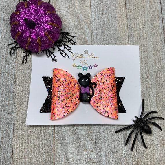 Black Cat Glitter Bow - Girls Halloween Hair Bow