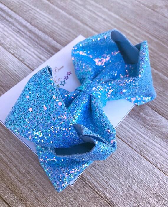 Frozen Blue Glitter Southern Bow, Jumbo Hair Bow