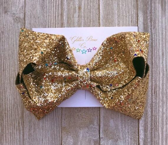 Gold Multi Glitter Southern Bow, Jumbo Hair Bow