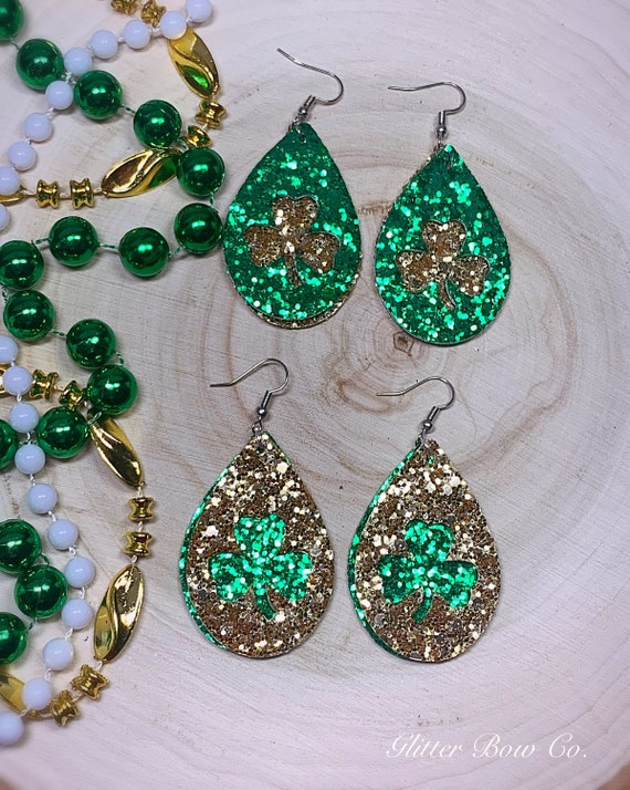 "Green and Gold Glitter Shamrock Earrings - St. Patrick's Day - Fashion Earrings - 2"" Teardrop - Lucky Earrings - Gifts for Her"