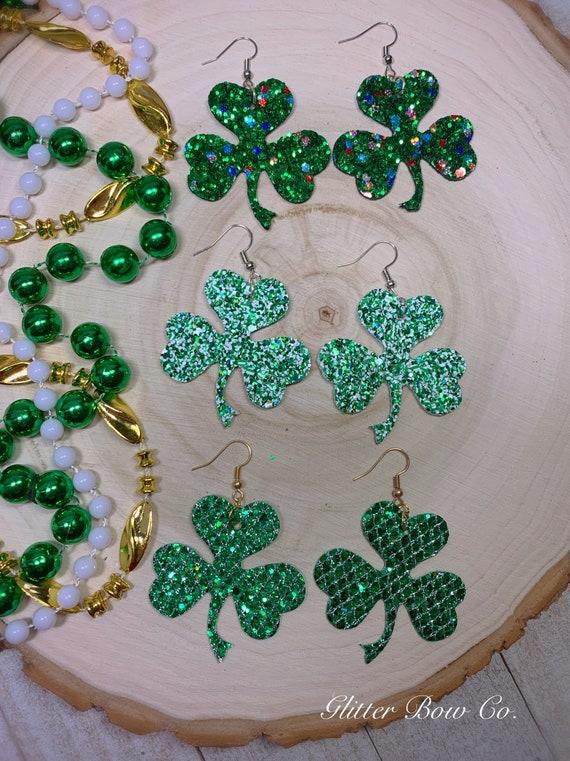 Shamrock Glitter Earrings - St. Patrick's Day - Fashion Earrings -Handmade - Lucky Earrings - Unique Gifts for Her