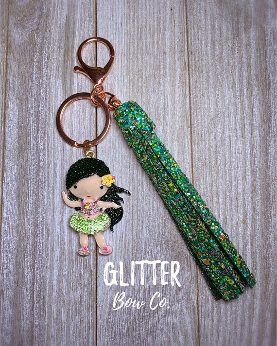 Hawaii Hula Girl Keychain, Tassel Keychain, Purse Bling, Backpack Keychain