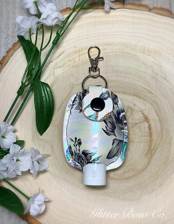 White and Black Rose Print Hand Sanitizer Holder - Oil Slick Roses- Keychain Sanitizer -  Travel Sanitizer Holder - Purse Bling