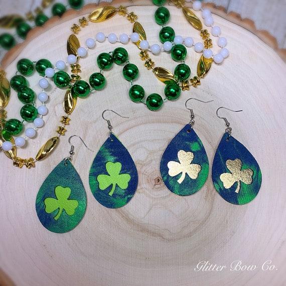 """Genuine Leather Tie Dye Shamrock Earrings - St. Patrick's Day - Groovy Earrings - 2"""" Teardrop - Lucky Earrings - Unique Gifts for Her"""