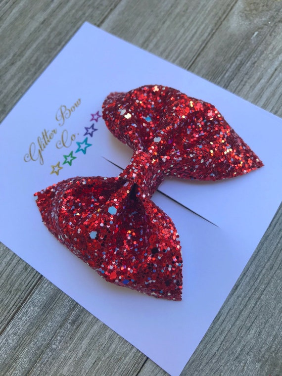 Red Glitter Bow, Red Glitter Headband, Red Bow Tie, Glitter Bow Tie, Red/White,