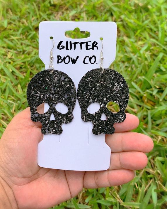 Skull Earrings, Glitter Skull Earrings, White Skull, Halloween, Costume Earrings, Cosplay, Skeleton Earrings