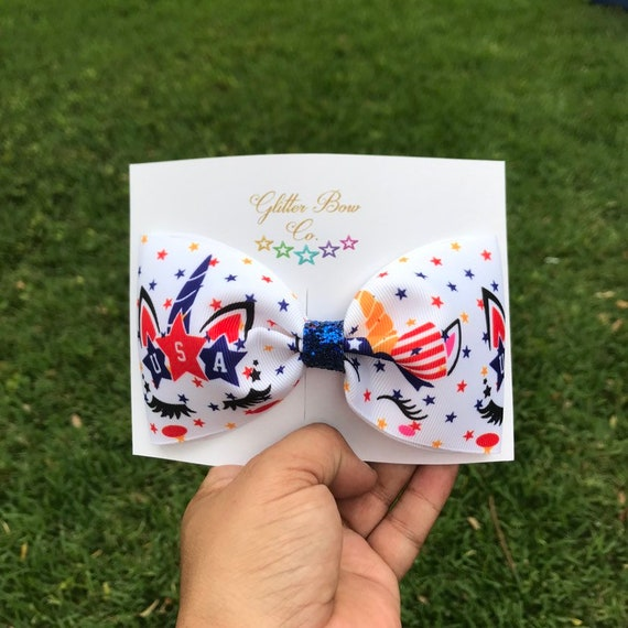 USA Unicorn Bow, July 4th Bow, Independence Day, Memorial Day, Tailless Cheer Bow, CLEARANCE
