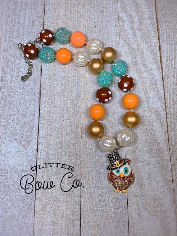 Thanksgiving Bubblegum Necklace - Turkey Day- Rhinestone Pendant - Chunky Bead Necklace