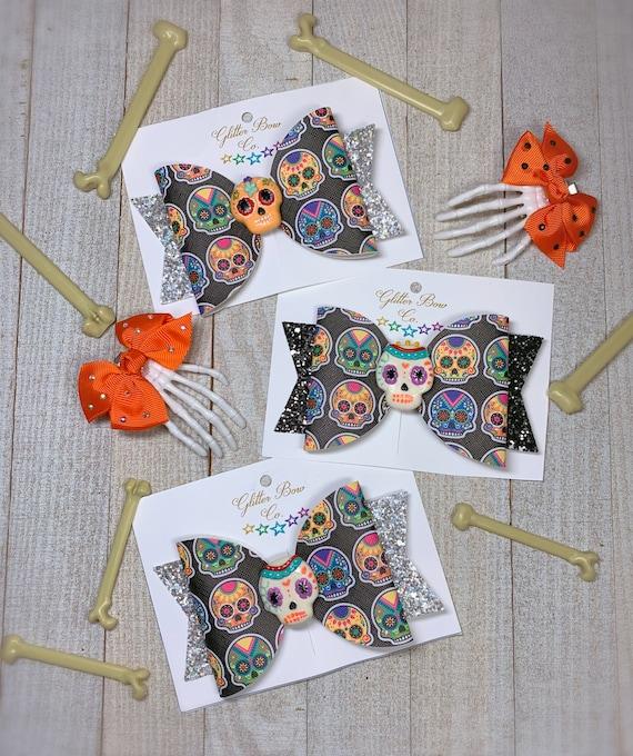 Sugar Skull Hair Bow - Halloween Hair Bow