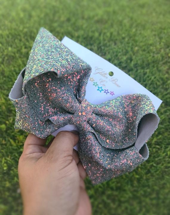 Denim Gray Glitter Southern Bow, Jumbo Hair Bow
