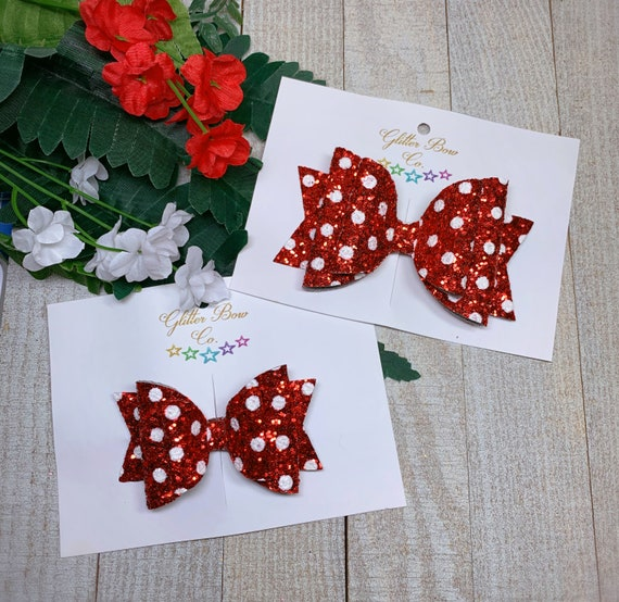 Red and White Polka Dot Glitter Bow - Minnie Party Hair Bow