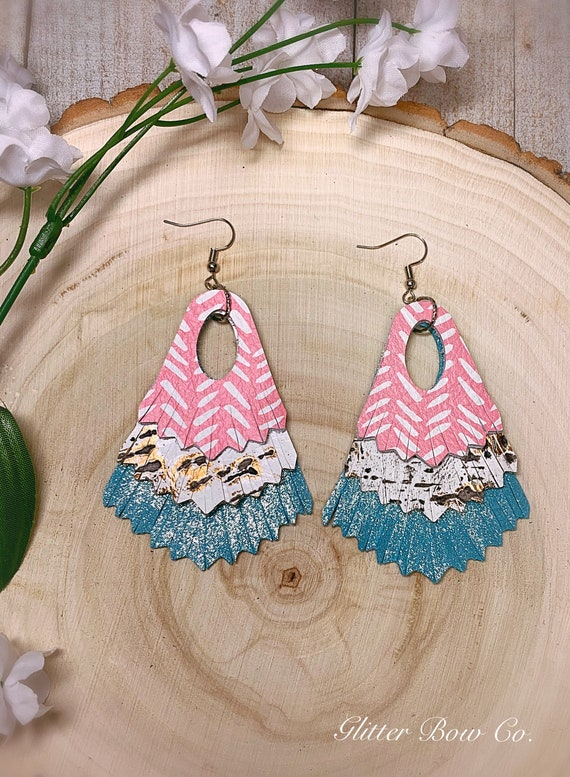 Pink and Aqua Fringe Statement Earrings - Genuine Leather- Spring and Summer Fashion - Unique Gifts for Her