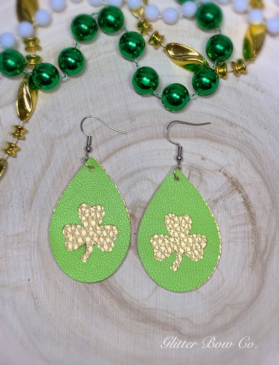 """Green and Gold Genuine Leather Shamrock Earrings - St. Patrick's Day - Fashion Earrings - 2"""" Teardrop - Lucky Earrings - Gifts for Her"""