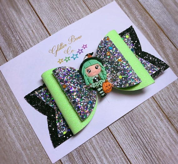 Lime Green Witch Glitter Bow- Glow in the Dark - Girls Halloween Bow