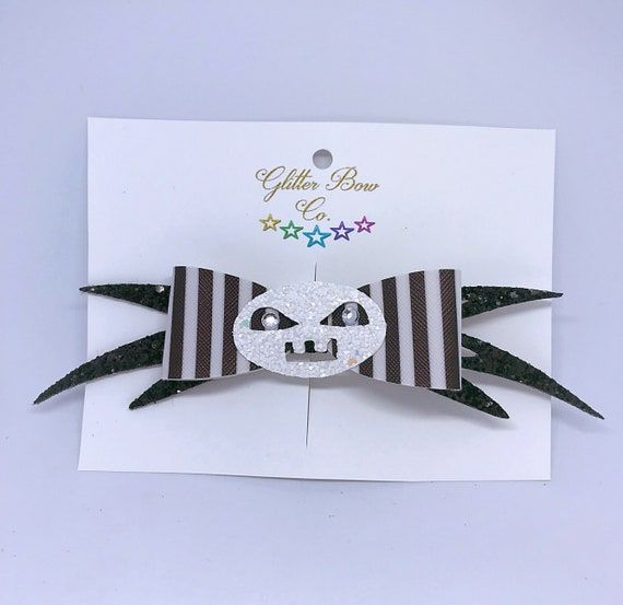 Nightmare Before Chunky Glitter Bow, Halloween Fashion, Skeleton Hair Clip, Jack Inspired, Black and White Stripe, Skull Bow
