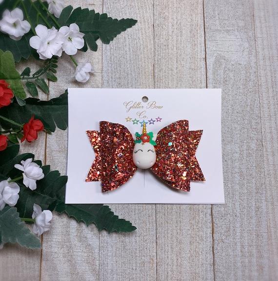 Christmas Unicorn Hair Bow