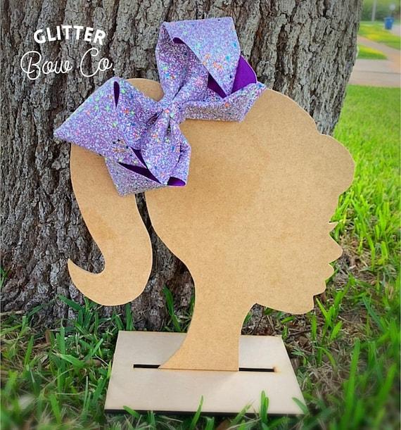 Purple Glow in the Dark Glitter Bow - Jumbo Hair Bow - Halloween Southern Bow